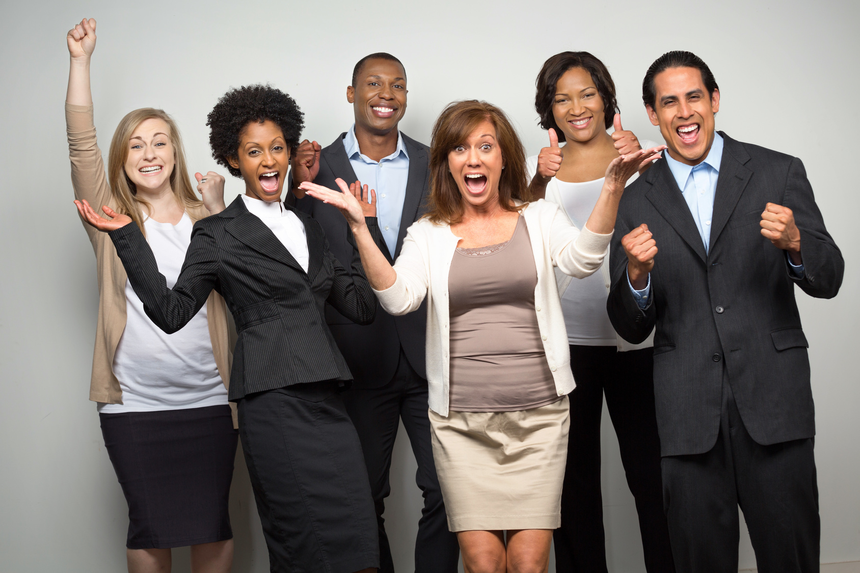 group of business people excited