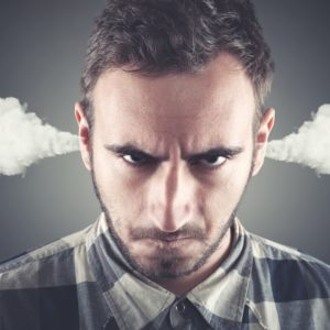 man with steam out of ears, mad