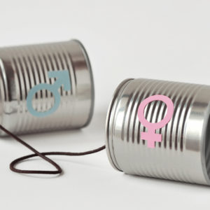 Gender communication concept tin cans as representation